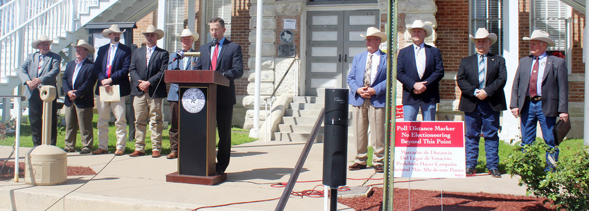 The sheriffs in the rural counties along the proposed high-speed rail route stand united during a press conference addressing public safety concerns recently afternoon in Anderson.