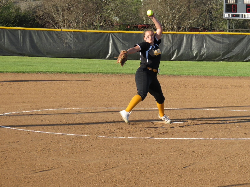 Ally Grier of the Lady Bulldogs delivers a pitch during a game in North Zulch last month.