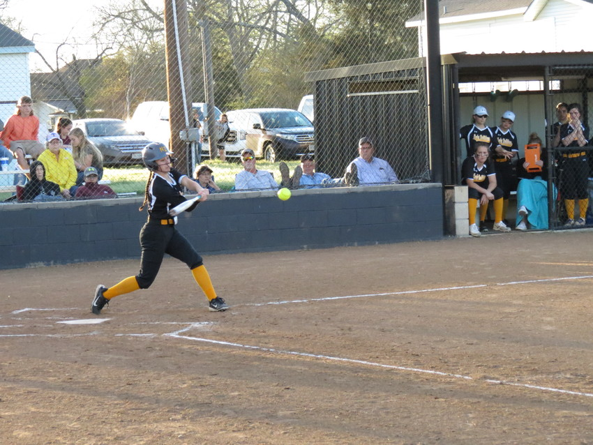 Emma Baker of North Zulch connects with a pitch during a home game against Snook.