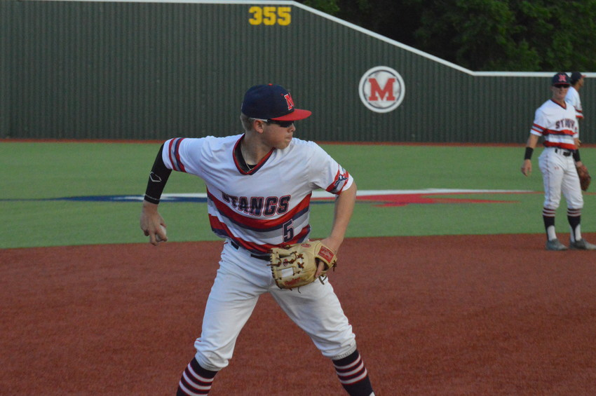 Madisonville's Brad Rudis attempts to throw out a Navasota runner from third during Thursday's 7-2 win at home.