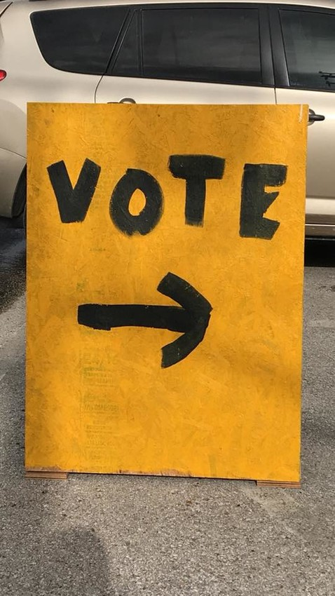 A sign was erected in front of North Zulch ISD on Monday to point citizens in the right direction to vote in the district's Tax Ratification Election (TRE).