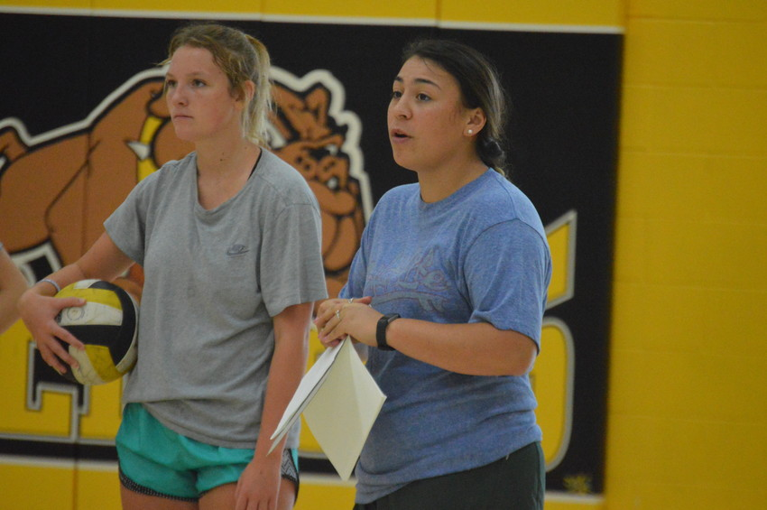 First year North Zulch volleyball Coach Corina Barrington instructs her team during a practice on Monday.