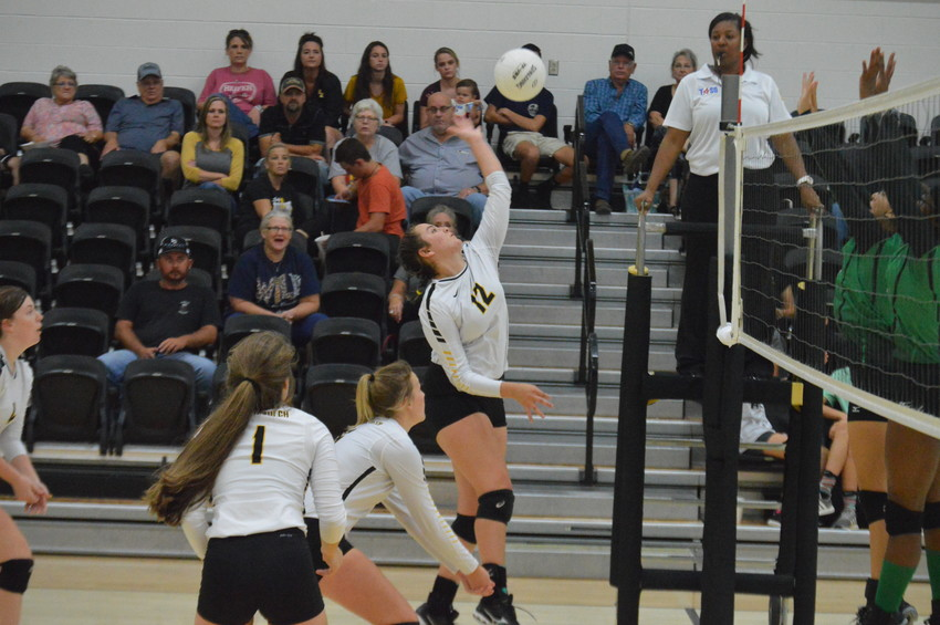 Ally Grier of North Zulch goes up high for a spike against Hempstead in the Lady Bulldogs victory over the Bobcats on Friday.
