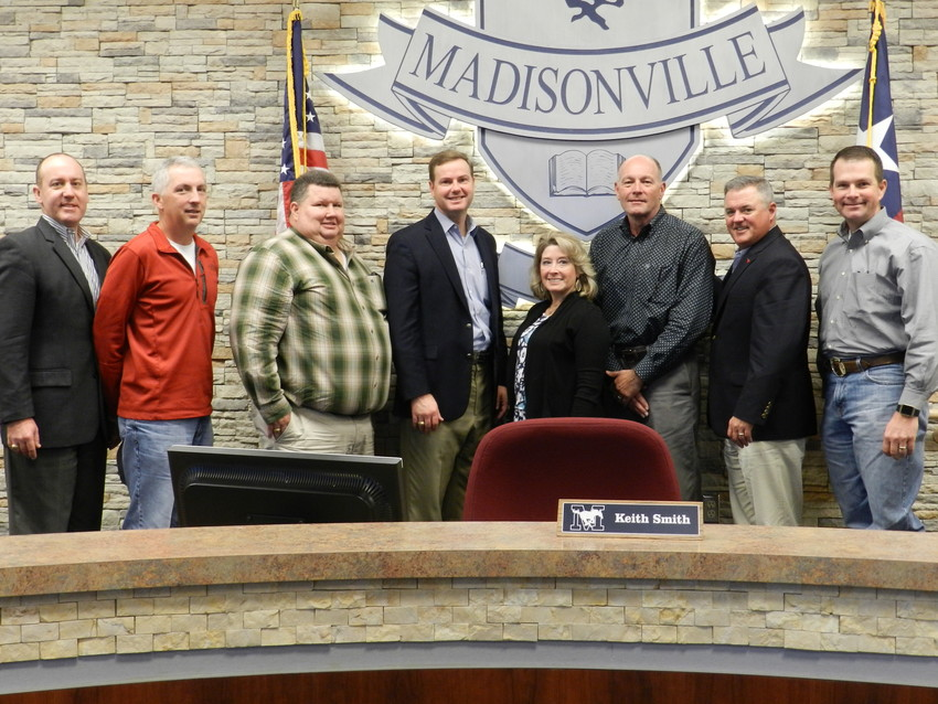 District 57 Representative Trent Ashby poses with members of the Madisonville CISD School Board following a roundtable discussion at MCISD on Wednesday morning.
