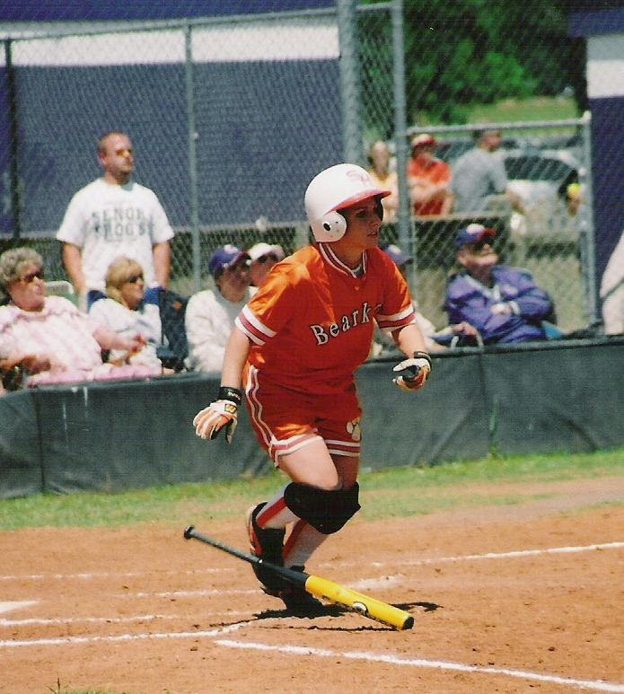 Newly inducted Sam Houston State University Athletic Hall-of-Fame member Lauren Lindsey is pictured playing softball for the Bearkats.
