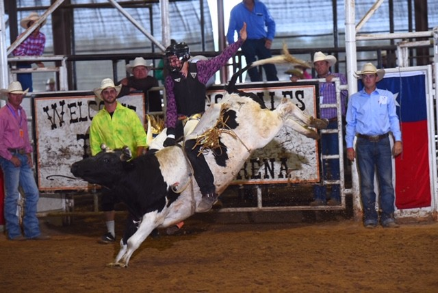 JrNFR qualifier and Madisonville local Bryce Jensen competes in Bull Riding.