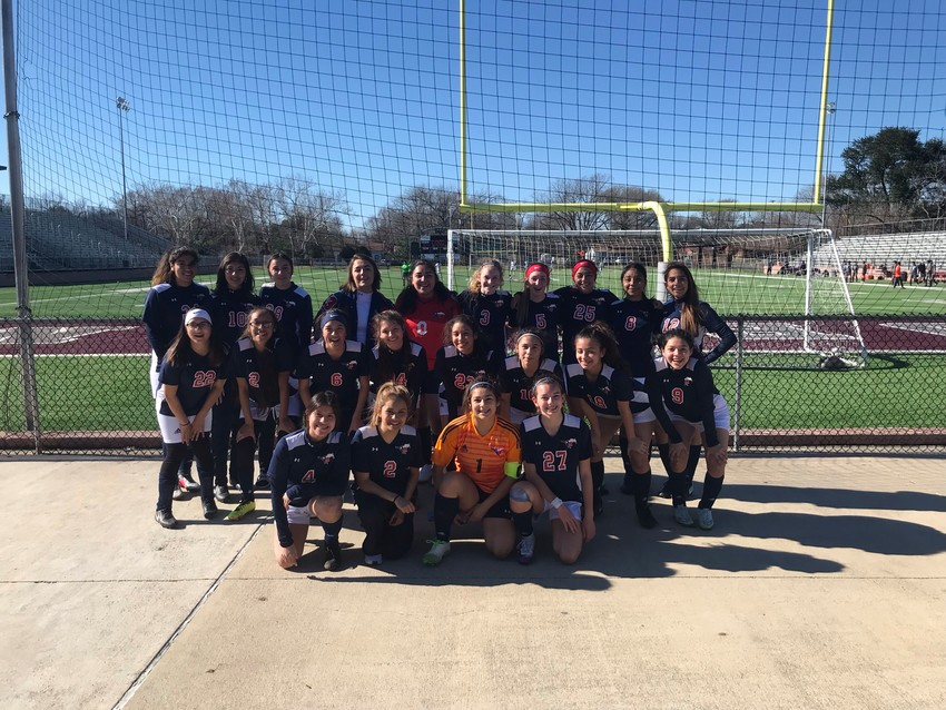 The Madisonville Lady Mustangs soccer team pose together after winning the 2019 Yoeman Invitational over the weekend.