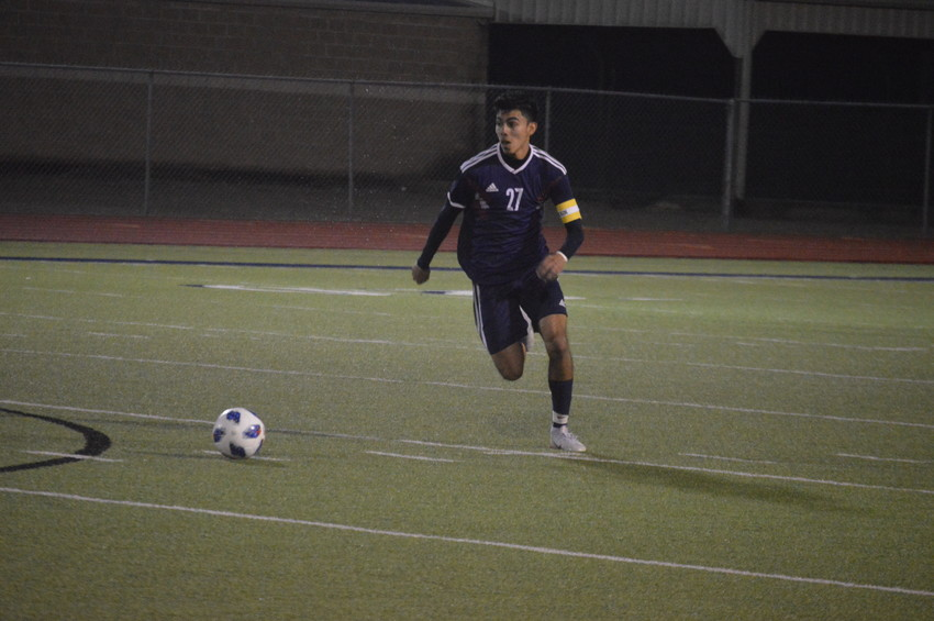Madisonville's Mauricio Aceves advances the ball during the team's 9-1 victory over Hempstead at home on Friday.