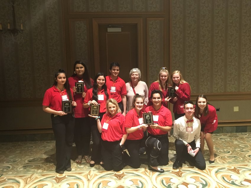 North Zulch FCCLA students pose with their awards and Advisor Jane Dill after the Regional Conference in Galveston earlier this month.