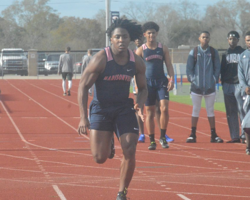 Uriel Willis of the Mustangs track team competes at the Madisonville Invitational on Thursday.