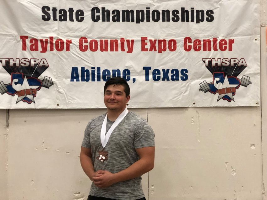 Madisonville's Corban Rodriguez finished in fourth place at the THSPA Championship in the 220 pound weight class with a total of 1,580 pounds.