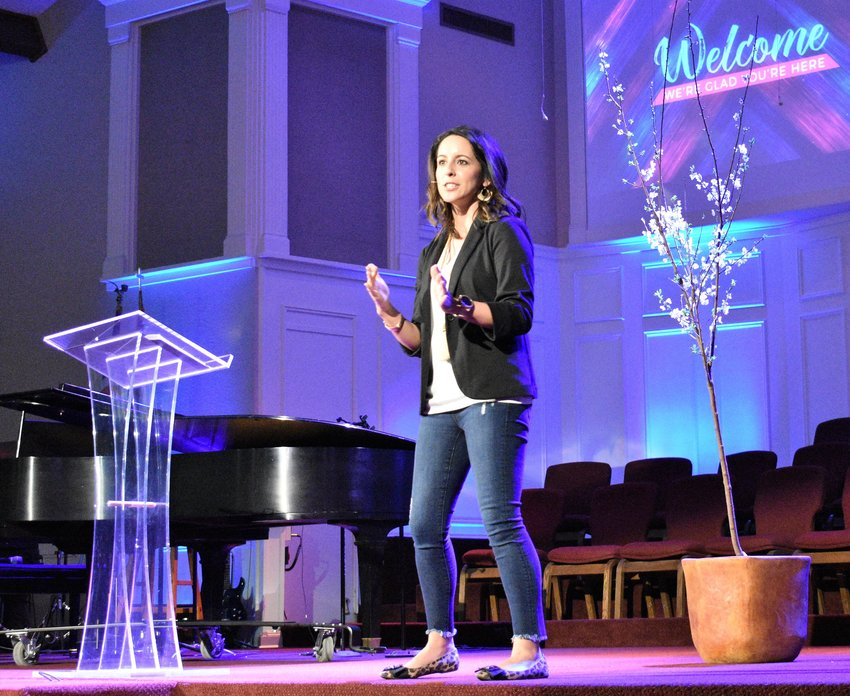 Jacki King addresses the First Baptist Church of Madisonville's Women's Retreat. King was guest speaker at the event, which drew more than 160 attendees Feb. 22-23.