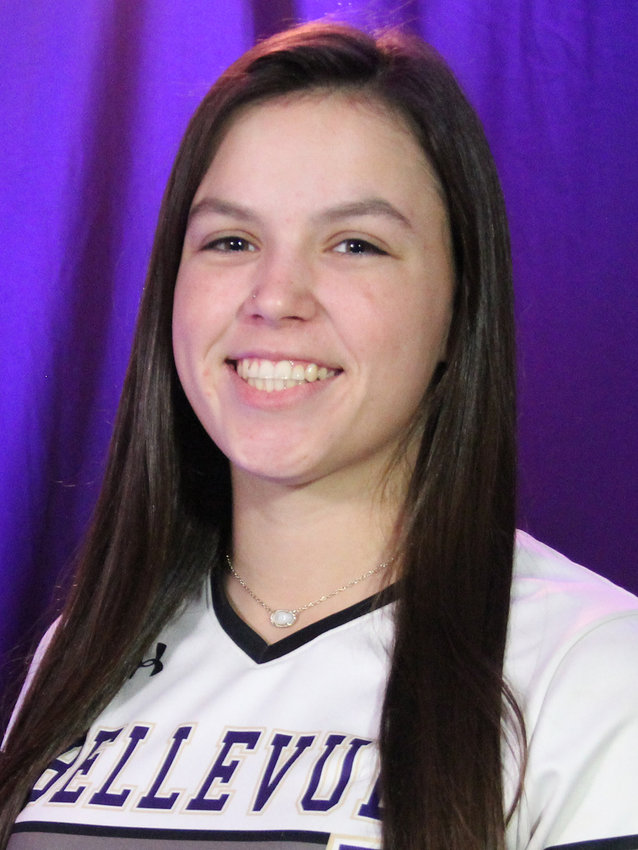 Ashlyn Teran connects with a pitch as a member of the Bellevue University softball team.