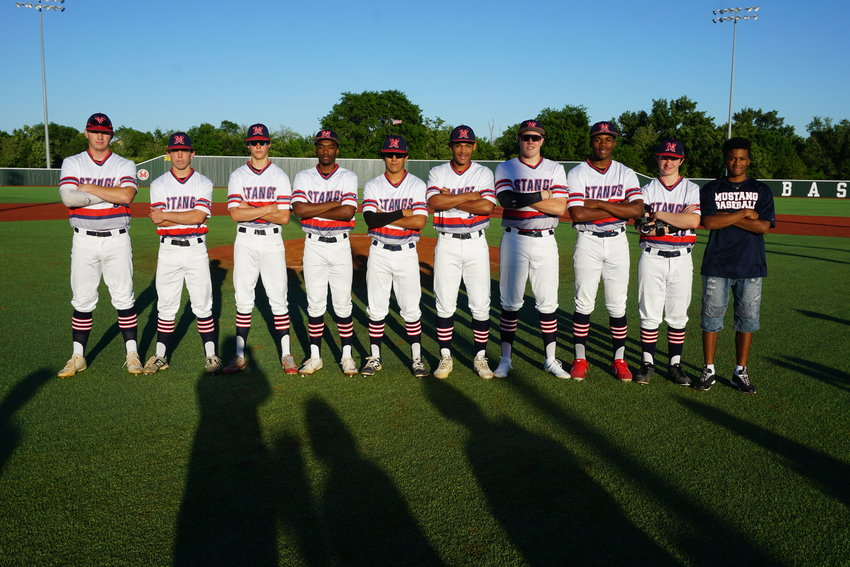Madisonville baseball seniors (from left) Brandon Larson, Max Allen, Jordan Baker, Gage Smith, Marcos Lopez, Danny Young, Cameron Carroll, Donte Malcolm, Jake Risinger and Reyshawn Moore.