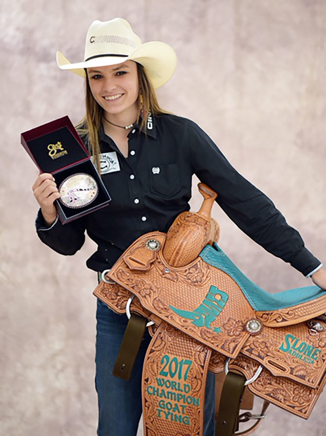 Sonora Schueneman of Texas A&M, graduate of North Zulch ISD, finished seventh at a goat-tying event.