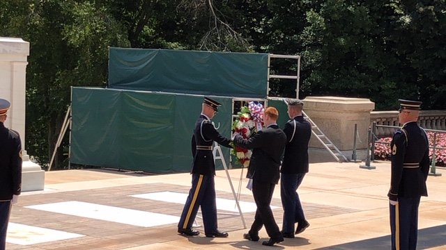 Cade Colwell was selected to help lay a wreath on the Tomb of the Unknown Soldier at Arlington Cemetery in Washington while attending the National Youth Leadership Forum on National Security in June.