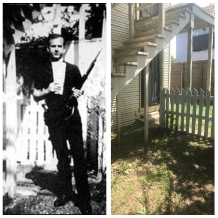 (Left) Lee Harvey Oswald in 1962 poses with the rifle he would later use to change history. (Right) That same backyard today, 214 W. Neely Street in Dallas.
