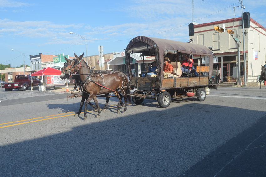 The trail ride comes through the Square during Saturday's National Day of the Cowboy celebration.