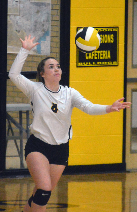 Paige McWilliams delivers a serve for the Lady Bulldogs during a home game at NZHS.
