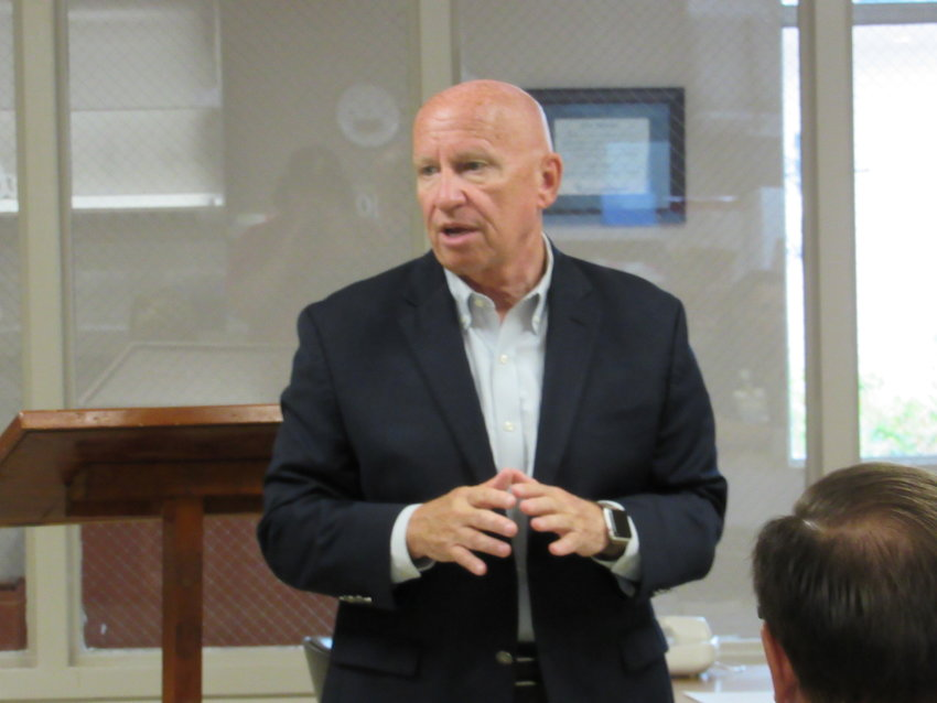 Congressman Kevin Brady speaks during a forum at CHI St. Joseph Health in Madisonville on Wednesday.