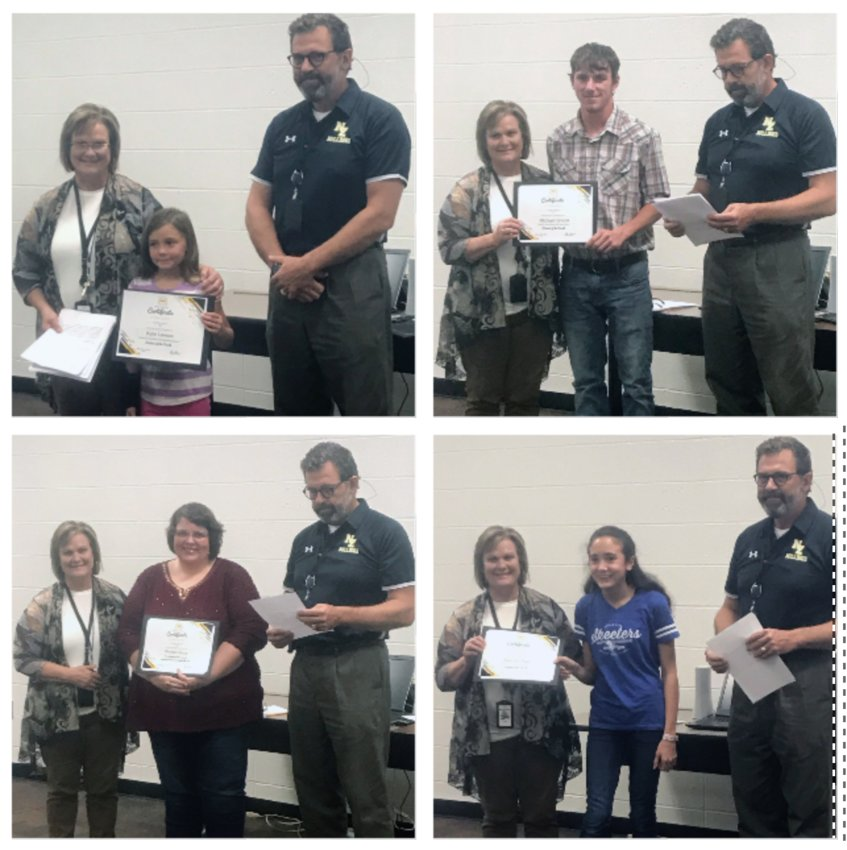 NZISD students of the month Kylie Lawson (elementary), Michael Snook (High School), Kamryn Piatti and Teacher of the Month Denise Dacus pose with Principals Janie Pope and Johan Osth at Thursday's board meeting. (Not pictured: Employee of the Month Lindsey Gafford)