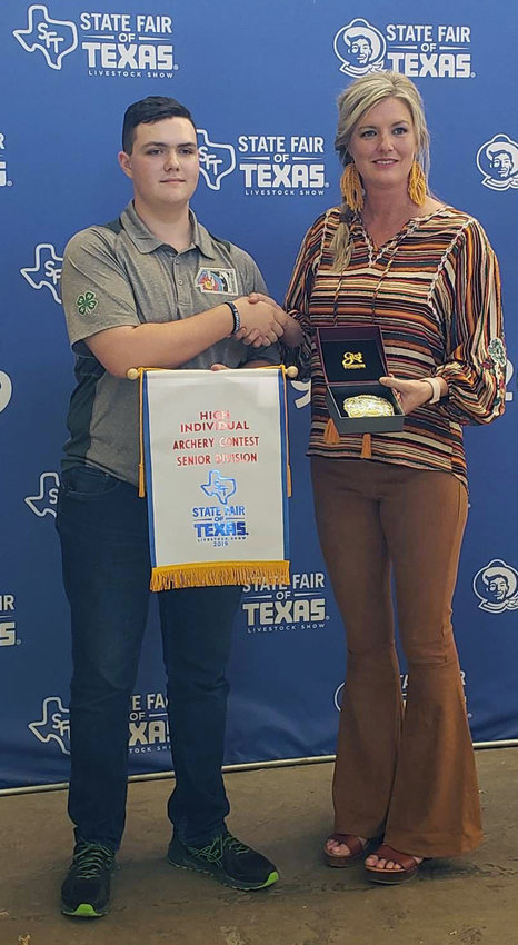 16-year-old Zach Rebstock of Madisonville 4-H, who has compiled a number of top finishes in archery since picking up the bow, earned another first place prize at the State Fair of Texas in Dallas over the weekend.