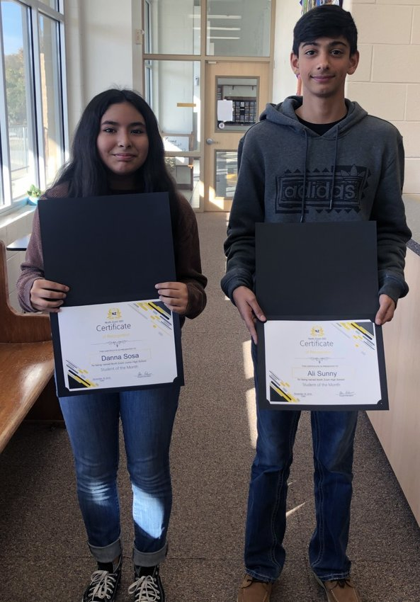 North Zulch Students of the Month Danna Sosa (Junior High) and Ali Sunny (high school) pose together at NZISD.