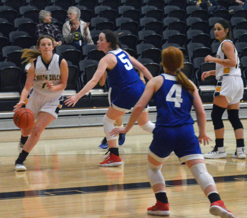 Katie Douga of North Zulch broke out with 27 points for the Lady Bulldog's in Friday's 57-25 win over Brazos Christian.