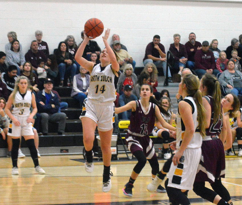 Katie Douga of North Zulch goes up for a layup during the team's 49-41 victory over Iola at NZHS Friday, their third straight victory in district.