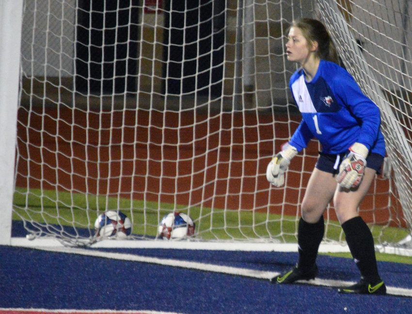 Madisonville goalkeeper Johnna Carroll awaits a Westwood penalty kick attempt at MHS Feb. 14.