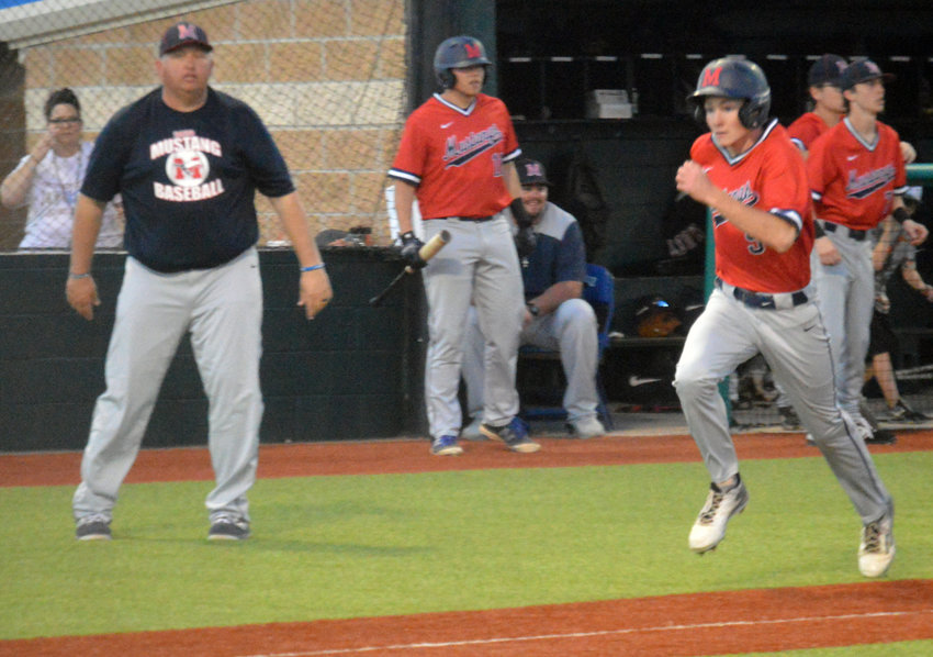Landon Jackson rounds third and heads for home in Madisonville's 5-2 win over Buffalo at MHS March 10.