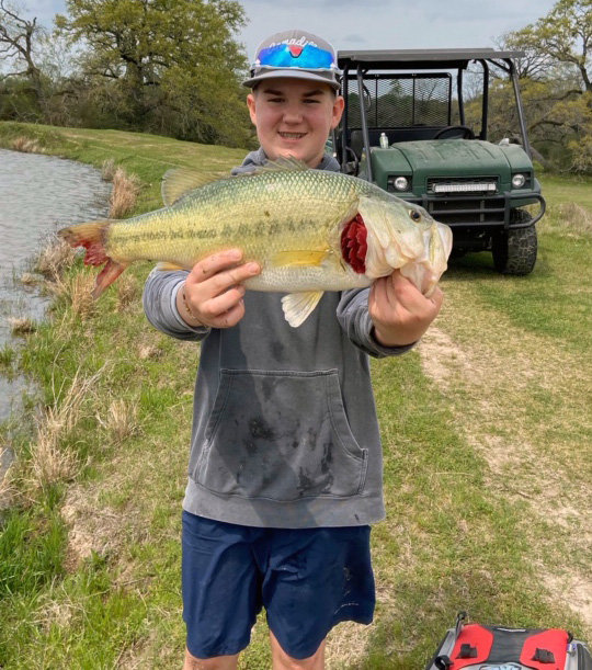 Madison County 4-H member Hayden Hurst finished first in the state in Texas A&M AgriLife Extension's Virtual Bass Fishing Tournament during March. Contestants across the state competed individually at locations of their choice and sent in pictures of their catches.