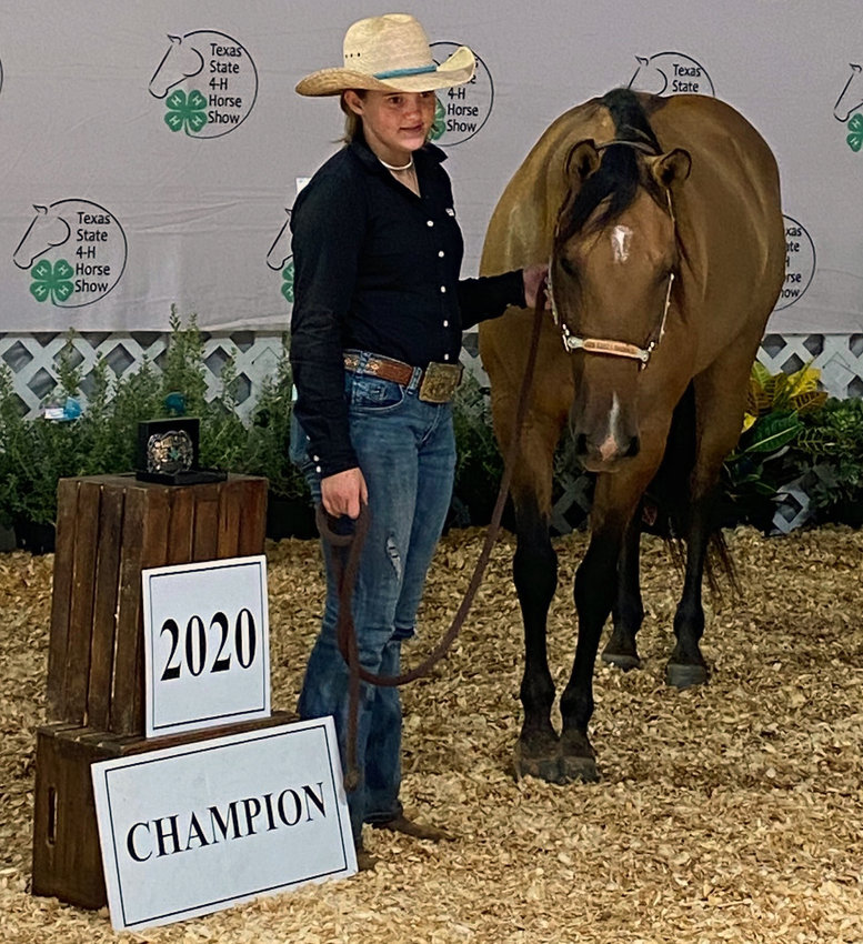 Jaley Neal (pictured with horse, JHB Driftwood Diann) earned the state's top prize in barrel racing at the 2020 State 4-H Horse Show at the Brazos County Expo Center in Bryan last week.