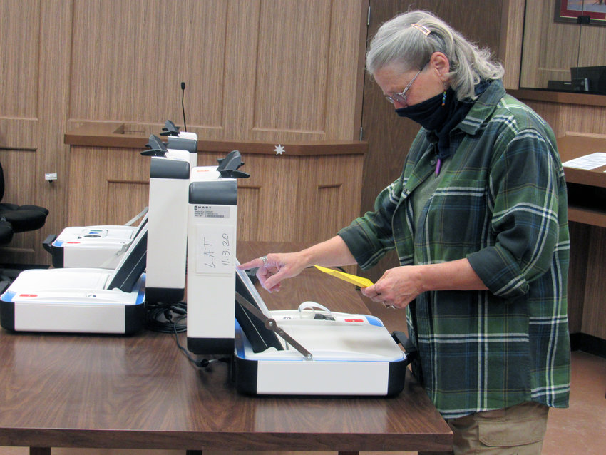 Madison County Election Administrator Janet Boone examines one of the county's Hart voting machines during the public testing period at the courthouse Friday in preparation for early voting, which began Tuesday.
