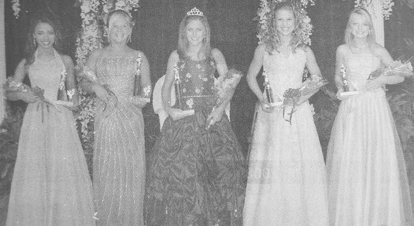 10 YEARS AGO — Carroll County Junior Fairest of the Fair and court (L to R): Third Maid Miriam Amador, First Maid Savannah Britt, Queen Reese Hopper, Second Maid Christina Shands and Fourth Maid Savanna Hopper.