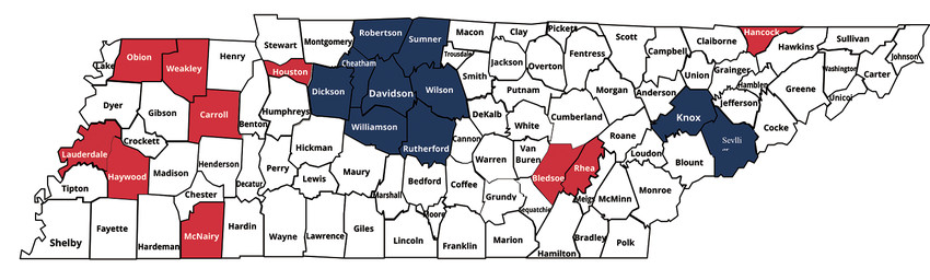 The ten counties with the highest unemployment were Weakley, Lauderdale, Bledsoe, Houston, Obion, Hancock, McNairy, Rhea, Carroll and Haywood.  The ten counties with the lowest unemployment were Williamson, Davidson, Sevier, Cheatham, Sumner, Rutherford, Wilson, Dickson, Smith, and Knox.