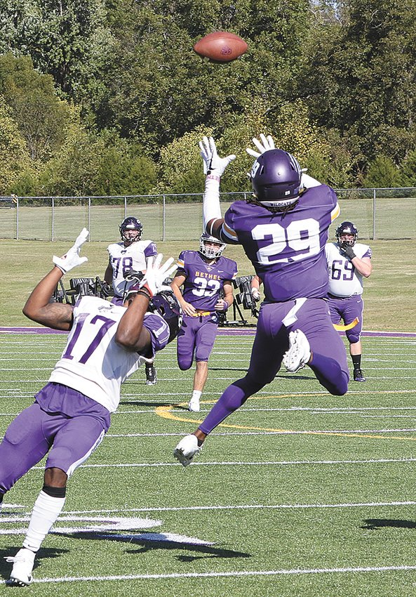 Bethel's Tito Hunter makes an interception for the Wildcats in the contest against Cincinnati Christian. Photo by Joel Washburn/The McKenzie Banner.