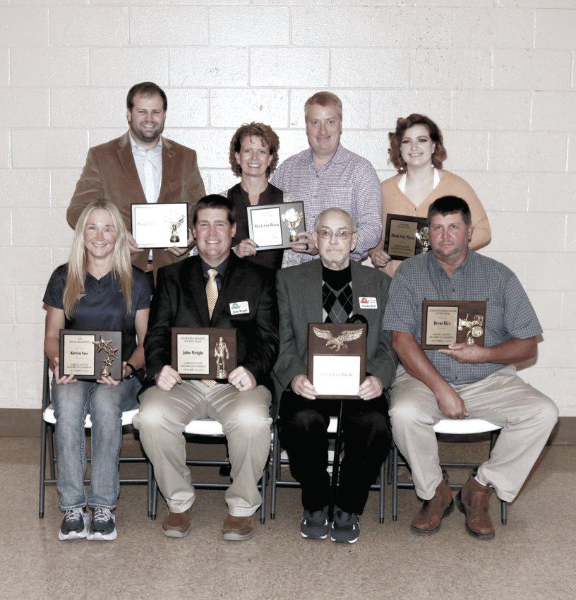 Carroll County Chamber of Commerce Honorees — (L to R) Front Row — Kirsten Winkler Sass, John Wright, Glendon Rich, Brent Rice; Back Row — Matt Lane, Shelly Lane, Marvin Lane and Kirsten Lane.