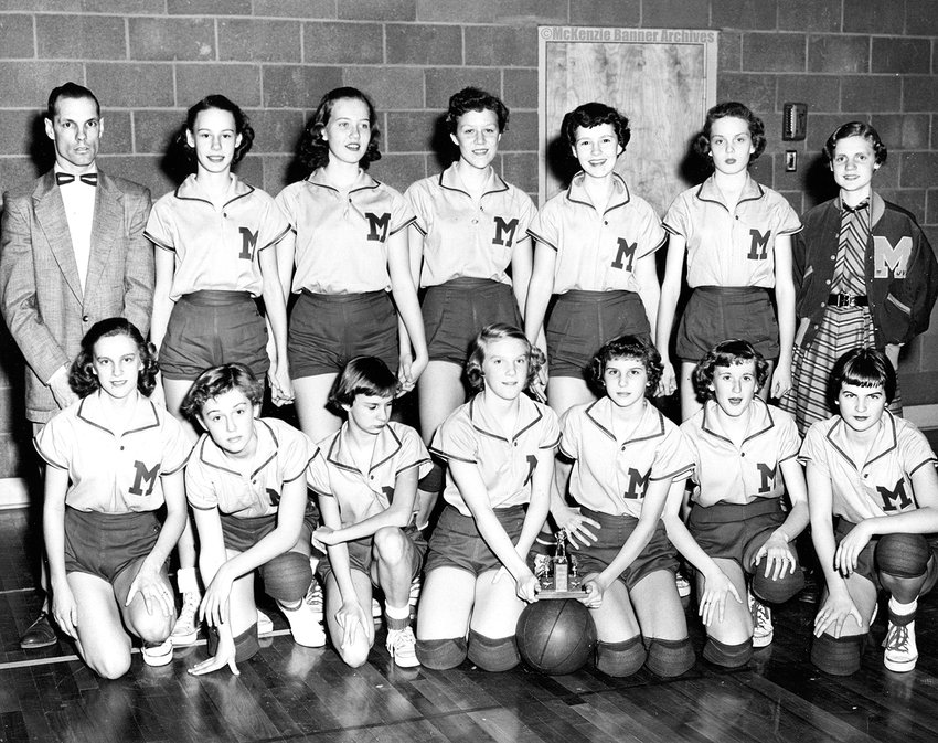 McKenzie Jr. High Championship Basketball Team, 1955 - Front Row (L to R): Bobbie Orr, Karen Webb, Betty Clement, Marilynn Holland, Anne House, Joan Argo, Linda Dotson. Back Row (L to R): Coach Dick Akers, Judy Abernathy, Barbara Downey, Sally Fuchs, Catherine Dinwiddie, Sandra Sparks, and Linda Wilson, manager.