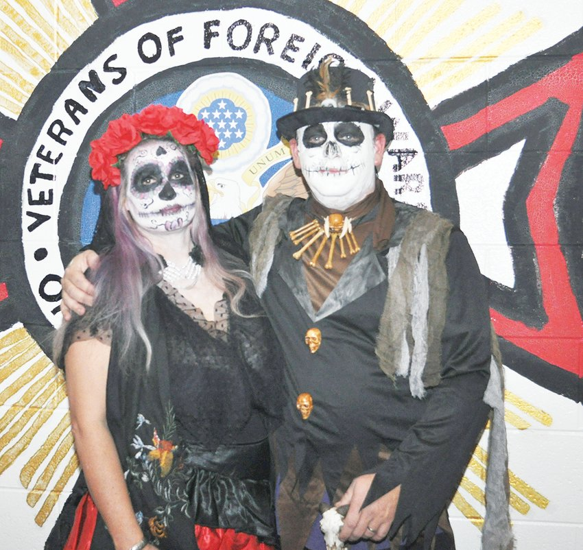 Shane and Kelly Rimmer dressed as a lovely Day of the Dead Couple winning first place in the couples division.