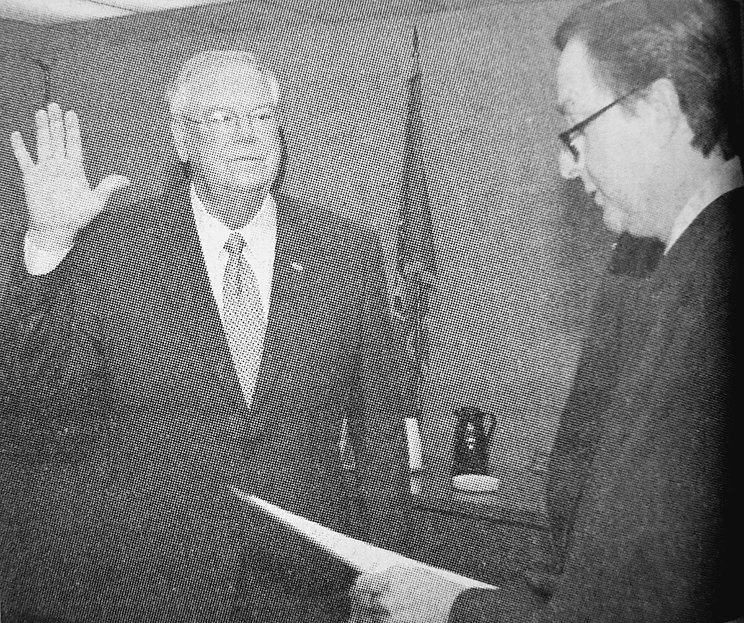 10 YEARS AGO — Re-elected Huntingdon Mayor Dale Kelley is administered the oath of office by Judge Donald Parish.