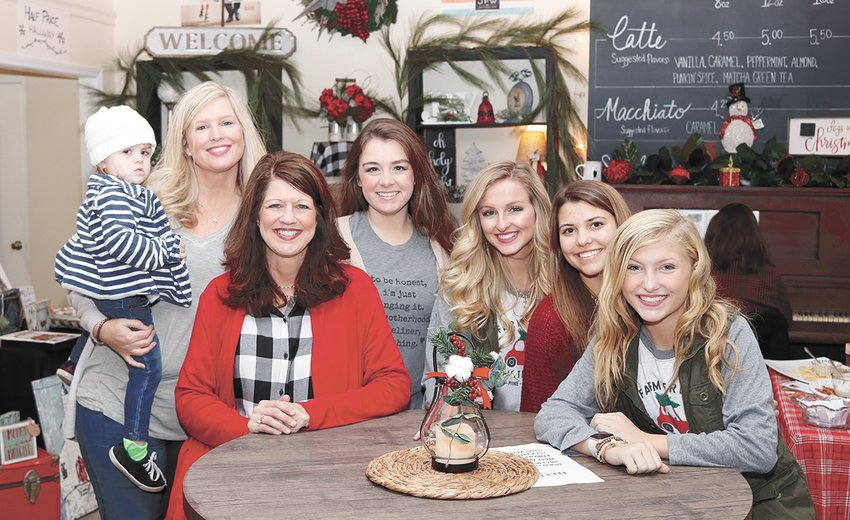 Landry Chappell, Christie Chappell, Michele Jarrett, Brittney Chappell, Morgan Richards, Kaci Fuller, and Allie Chappel at City Florist and More.