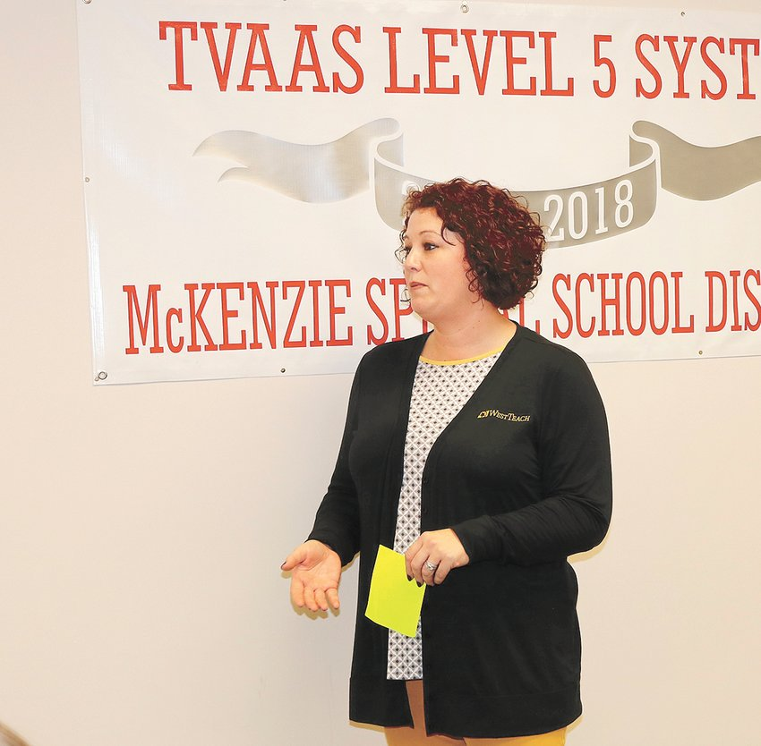 Lindsey Parham speaks to the Board of Education of the McKenzie Special School District.
