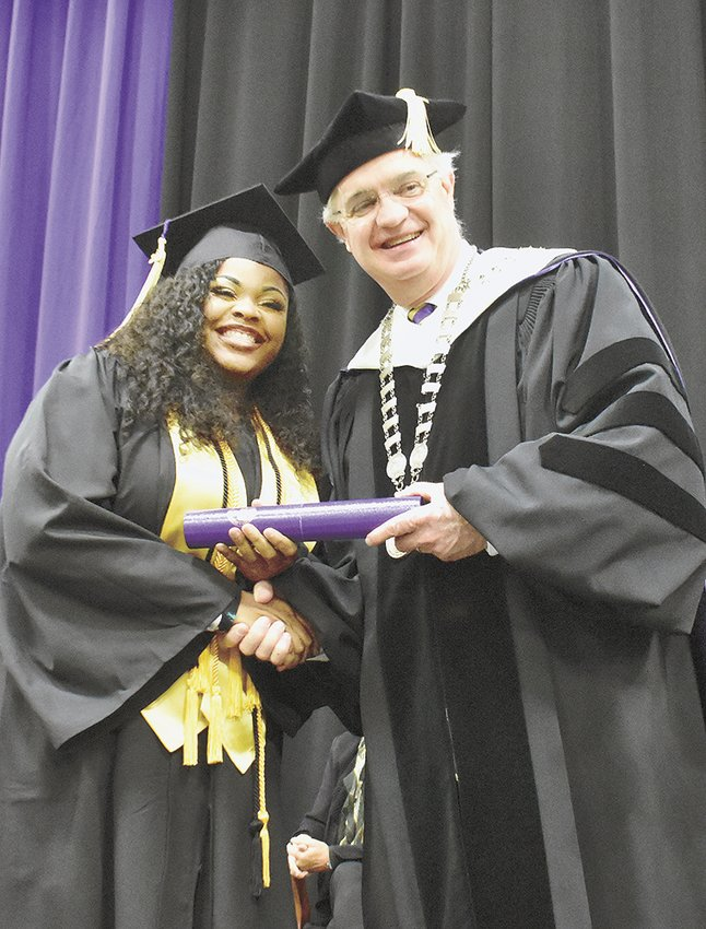 Tamera Williams of Huntingdon receives her Bachelor of Science degree (Magna Cum Laude).