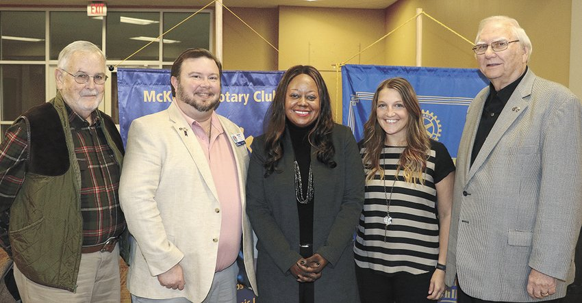 Rotary District Governor visits McKenzie. Pictured (L to R) Clark Brown, past assistant district governor, Jason Martin, assistant district governor, Laquita Stribling, district governor, Krista Martin, president of McKenzie Rotary Club, and Ed Perkins, past district governor.