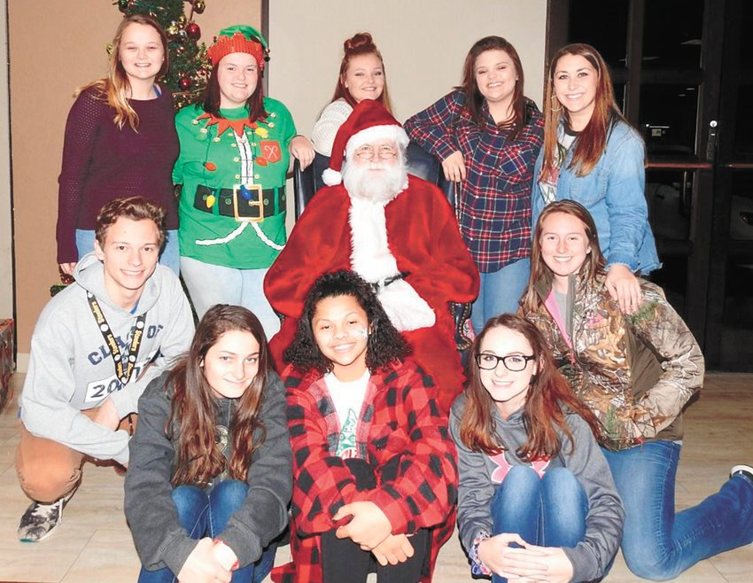 Pictured Front Row (L to R): Jasmine Hilliard, Diamond King, Katelyn Johnson. (middle row) Dillon Ivy, Santa, Olivia Thompson.  Back Row: Kailey Freeman, Lizzie Baker, Sarah Kirksey, Presley Chadwick, Cara Chadwick.