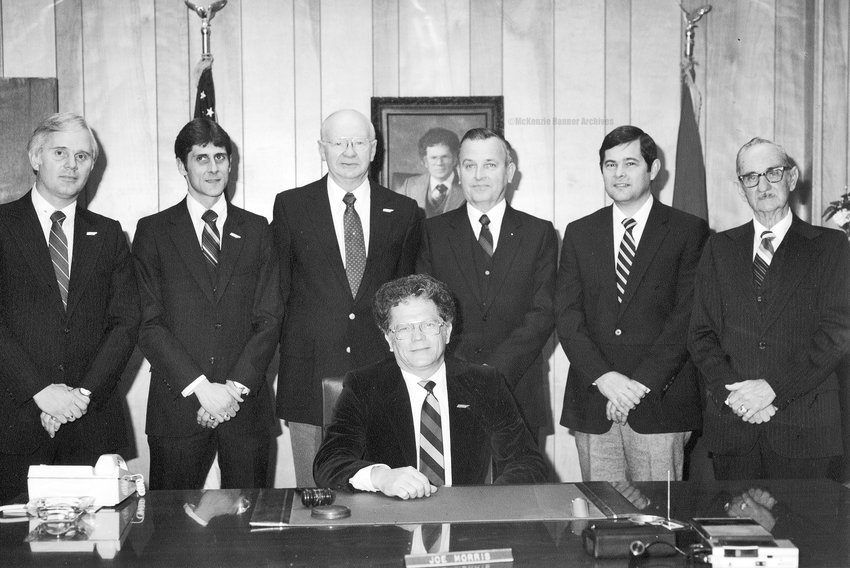 McKenzie City Council, 1984 (L to R): Danny Yates, Dennis R. Coleman, Billy Vawter, J. R. McDonald, Bob Putman, Ed Wallace. Seated: Mayor Joe Morris.