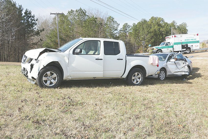 Two vehicles came to rest off of the roadway following a collision at the intersection of State Route 22 and Thompson Road.