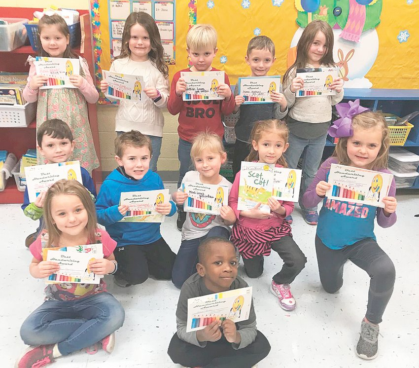 Partners in Education Awards for Best Handwriting in Kindergarten, sponsored by Brummitt-McKenzie Funeral Home, were presented to (pictured in no particular order): Ashton Blackwell, Abby Chittenden, Jacob Travelstead, Honor Parker, Delilah Mejias, Shelby Shaw, Lola Fawcett, Rena Weaver, Zane Campbell, Nathan Lowe and Madi Laws.