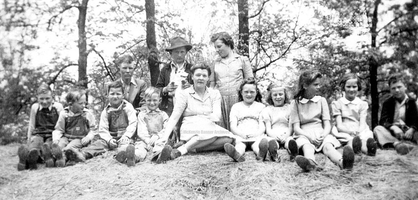 Fairview School, 1943-44 (L to R): Robert Lemonds, Paul Martin Jr., Ralph Sampson, Jodie Copeland, Johnny Lemonds, James R. Sawyer, Mrs. Ruth Clark, Joyce Kennon, Barbara Clark, Frances Kennon, Faye Stubblefield, Peggy Copeland, Kenneth Sampson.